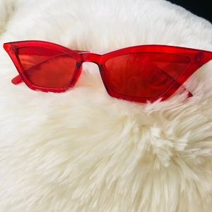 Accessories - Red Cat Eyes Retro Vintage Sunglasses
